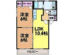 愛媛県松山市古川北1丁目の賃貸アパートの間取り