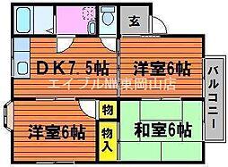 岡山県岡山市東区西大寺中野丁目なしの賃貸アパートの間取り