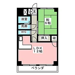 アパートメント千早[4階]の間取り