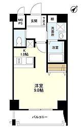 東京メトロ日比谷線 中目黒駅 徒歩2分の賃貸マンション 3階1Kの間取り