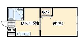 ワンルームマンション喜田[23号室]の間取り