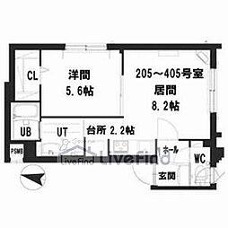 札幌市営南北線 中の島駅 徒歩8分の賃貸マンション 2階1LDKの間取り