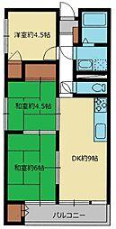 東武野田線 八木崎駅 徒歩3分の賃貸マンション 2階3DKの間取り