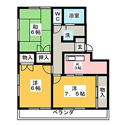 サマックス林A棟[2階]の間取り
