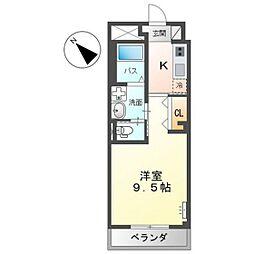 JR呉線 天神川駅 徒歩4分の賃貸マンション 3階1Kの間取り