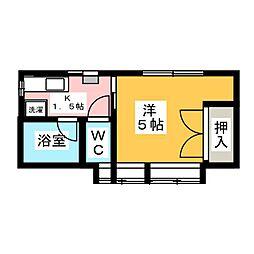 コーポくら家B棟[1階]の間取り