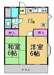 東京都調布市染地1丁目の賃貸アパートの間取り