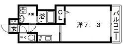 JR大阪環状線 寺田町駅 徒歩4分の賃貸マンション 7階1Kの間取り
