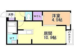 仮)サリーレ新札幌A 1階1LDKの間取り
