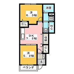 ボンヌシャンス7 I[1階]の間取り