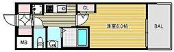 エステムコート難波ウエストサイドVIIグローブ 7階1Kの間取り