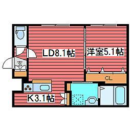 グランメールアクシア2[3階]の間取り