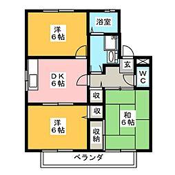パディフィールドA棟[2階]の間取り
