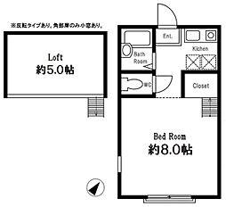 JR横浜線 淵野辺駅 徒歩15分の賃貸アパート 1階ワンルームの間取り
