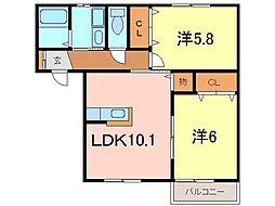 Ksハウス A[202号室]の間取り