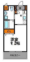 福岡市地下鉄七隈線 桜坂駅 徒歩6分の賃貸マンション 2階1Kの間取り