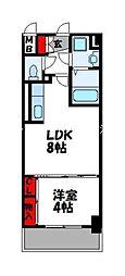 プレステージ空港東 1階1LDKの間取り