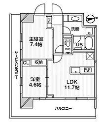 都営浅草線 高輪台駅 徒歩5分の賃貸マンション 4階2LDKの間取り