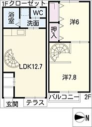 [タウンハウス] 愛知県津島市橘町3丁目 の賃貸【/】の間取り