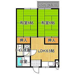 Osaka Metro谷町線 出戸駅 徒歩16分の賃貸マンション 2階2DKの間取り