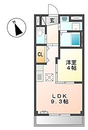 名鉄津島線 須ヶ口駅 徒歩33分の賃貸マンション 1階1LDKの間取り