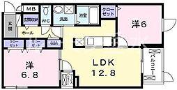 兵庫県神戸市西区玉津町田中の賃貸マンションの間取り
