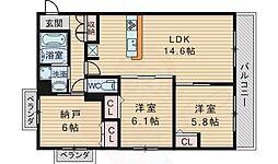 阪急千里線 千里山駅 徒歩3分の賃貸マンション 3階3LDKの間取り