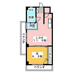 SK'BUILDING-8 3階1LDKの間取り
