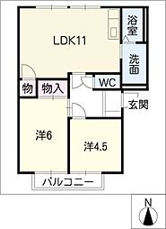 夢スペース B棟[2階]の間取り