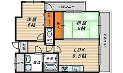 梅田鴻臚館 5階2LDKの間取り