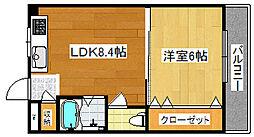 Osaka Metro四つ橋線 岸里駅 徒歩12分の賃貸マンション 3階1LDKの間取り