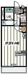 JR埼京線 北与野駅 徒歩11分の賃貸マンション 2階ワンルームの間取り