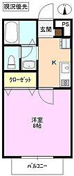 メゾンド駒沢 1階1Kの間取り