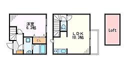 京王井の頭線 永福町駅 徒歩6分の賃貸テラスハウス 1階1LDKの間取り