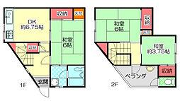 Osaka Metro谷町線 大日駅 徒歩16分の賃貸テラスハウス 1階3DKの間取り