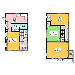 [一戸建] 三重県伊賀市緑ケ丘西町 の賃貸【/】の間取り