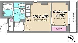 JR京浜東北・根岸線 鶴見駅 徒歩20分の賃貸マンション 5階1DKの間取り
