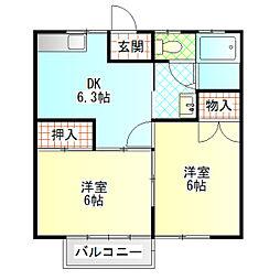 シーサイドハイツI[2階]の間取り