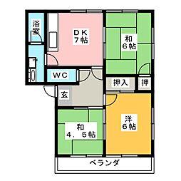 コーポ明野[1階]の間取り