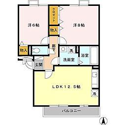愛知県名古屋市北区楠1丁目の賃貸アパートの間取り