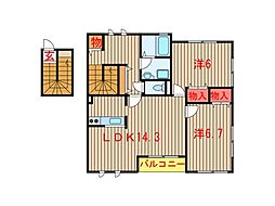 千葉県船橋市坪井東5丁目の賃貸アパートの間取り
