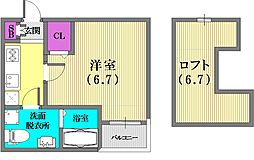 兵庫県神戸市兵庫区荒田町4丁目の賃貸アパートの間取り