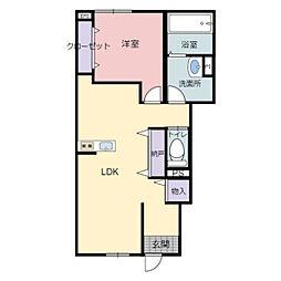 JR東海道・山陽本線 河瀬駅 徒歩15分の賃貸アパート 1階1LDKの間取り