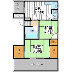 大阪府大阪市阿倍野区阪南町3丁目の賃貸マンションの間取り
