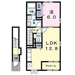 JR中央本線 酒折駅 4.3kmの賃貸アパート 2階1LDKの間取り