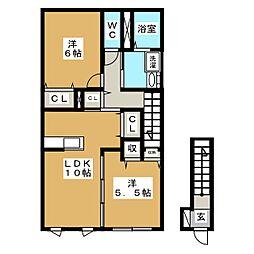 ホームメイド38[2階]の間取り
