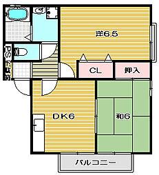 大阪府高槻市浦堂本町の賃貸アパートの間取り