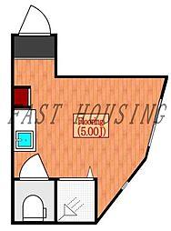 都営大江戸線 中野坂上駅 徒歩9分の賃貸アパート 2階ワンルームの間取り