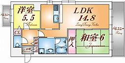 兵庫県神戸市北区鈴蘭台南町9丁目の賃貸マンションの間取り