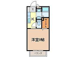 静岡県富士市蓼原の賃貸アパートの間取り